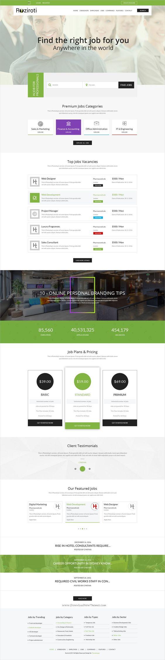 rozi roti job board psd template roziroti is professional psd template for job board portal websites now10153