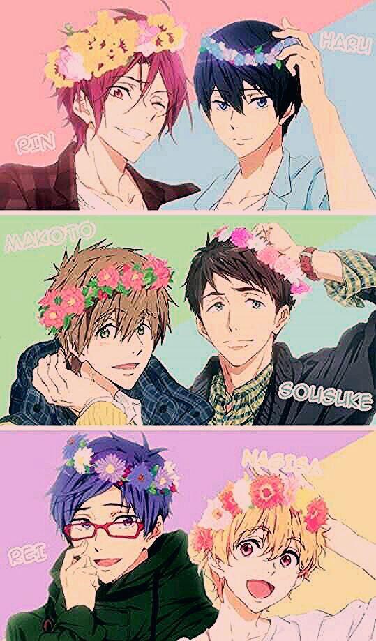 Rin Haruka Makoto Sousuke Nagisa Rei Flowers Text Free In 2020 Free Anime Anime Shows Anime