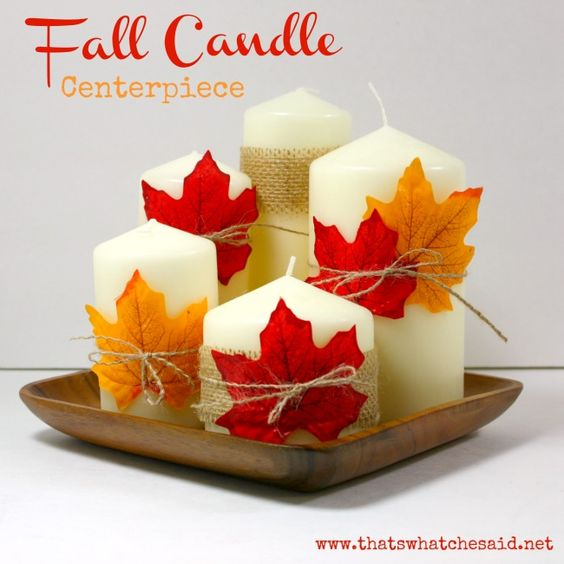 Create a fabulous fall candle centerpiece for next to nothing! Great for your mantle or Thanksgiving day table!
