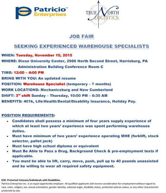 JOB FAIR SEEKING EXPERIENCED WAREHOUSE SPECIALISTS - http\/\/www - warehouse specialist resume
