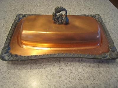 Antique Legendary Old Vintage Copper  Ornate Pewter Trim Butter Dish Lovely!
