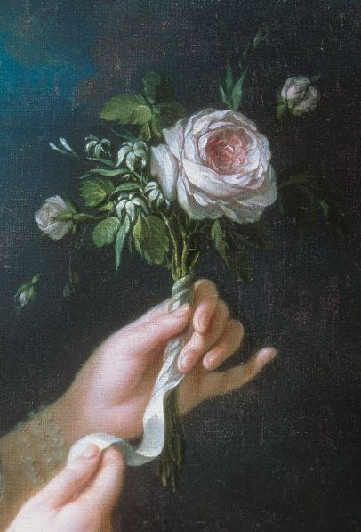 Detail of the rose from the portrait of Marie Antoinette by Louise Élisabeth Vigée Le Brun.