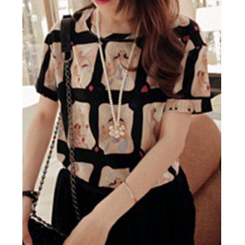 $14.34 Sweet Jewel Neck Short Sleeve Printed Chiffon Blouse For Women