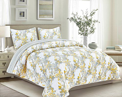 Brown Grey Rossetti Quilt Set Full Queen Yellow Best Quilted