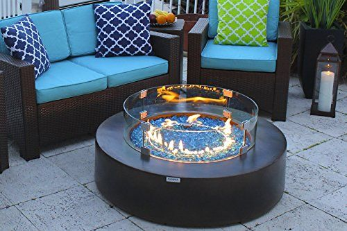 42 Round Modern Concrete Fire Pit Table W Glass Guard And Crystals Set In Brown By Akoya Outdoor E Gas Fire Pit Table Fire Pit Table Outdoor Fire Pit Designs