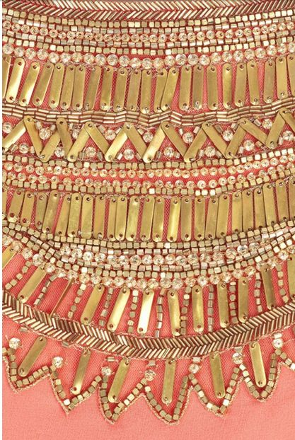pink & gold emblishment: Coral Gold, Pink Gold, Beading Gold, Details Coral, Gold Accent, Pink And Gold