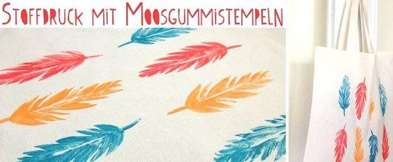 DIY: Feder-Stempel Stoffdruck // Feather stamp fabric printing by Fee ist mein Name via blog.dawanda.com