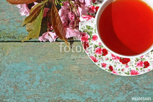"Download the royalty-free photo ""Beautiful japanese cherry tree and a cup of tea"" created by JulietPhotography at the lowest price on Fotolia.com. Browse our cheap image bank online to find the perfect stock photo for your marketing projects!"