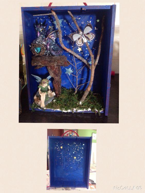 Diorama de hadas en caja de madera