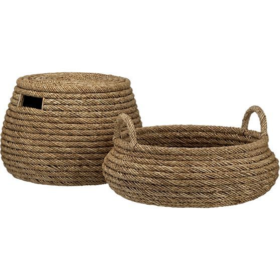 Roll Weave Storage Basket-Ottoman in Baskets | Crate and Barrel