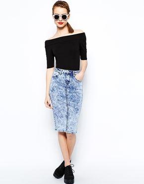New Look Denim Acid Tube Skirt