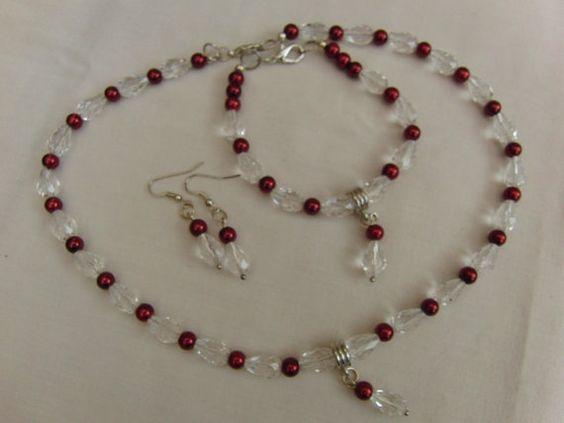 Necklace Bracelet Earrings Wedding Beaded Clear by OswestryJewels