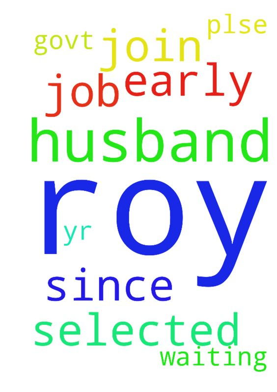 Please pray for my husband roy he - Please pray for my husband roy he selected for a govt job since 1yr he is waiting plse pray to join as early Posted at: https://prayerrequest.com/t/sKK #pray #prayer #request #prayerrequest
