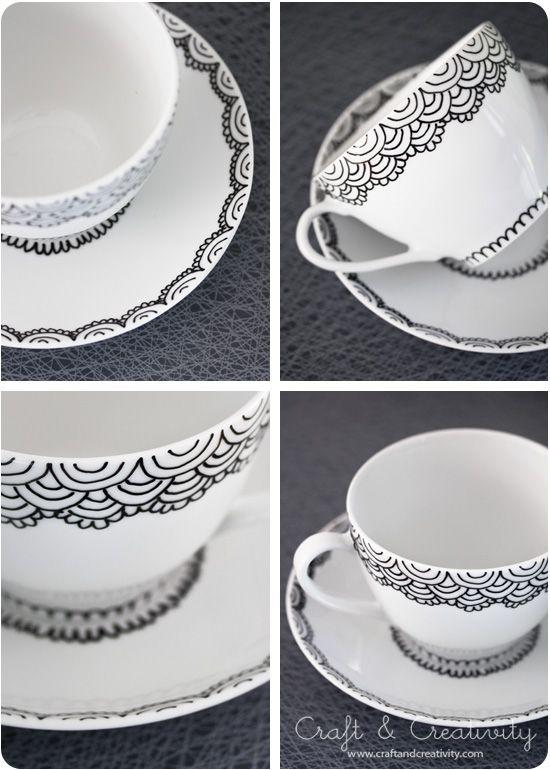 DIY - Hand painted Cup & Saucer using a porcelain pen via Craft & Creativity