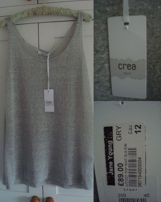 Designer Crea Concept Sleeveless Top Lagenlook New With Tags UK 12