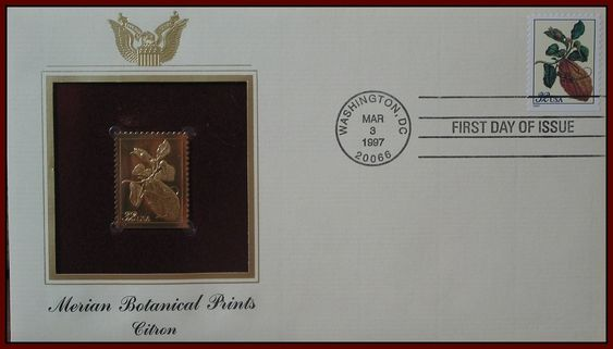 POSTAL SERVICE 22K Gold Replica Stamp First Day Of Issue Botanical Prints Citron  http://ajunkeeshoppe.blogspot.com/