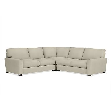 Turner Square Arm Upholstered 3-Piece L-Shaped Corner Sectional without Nailheads, Down Blend Wrapped Cushions, Premium Performance Basketweave Oatmeal