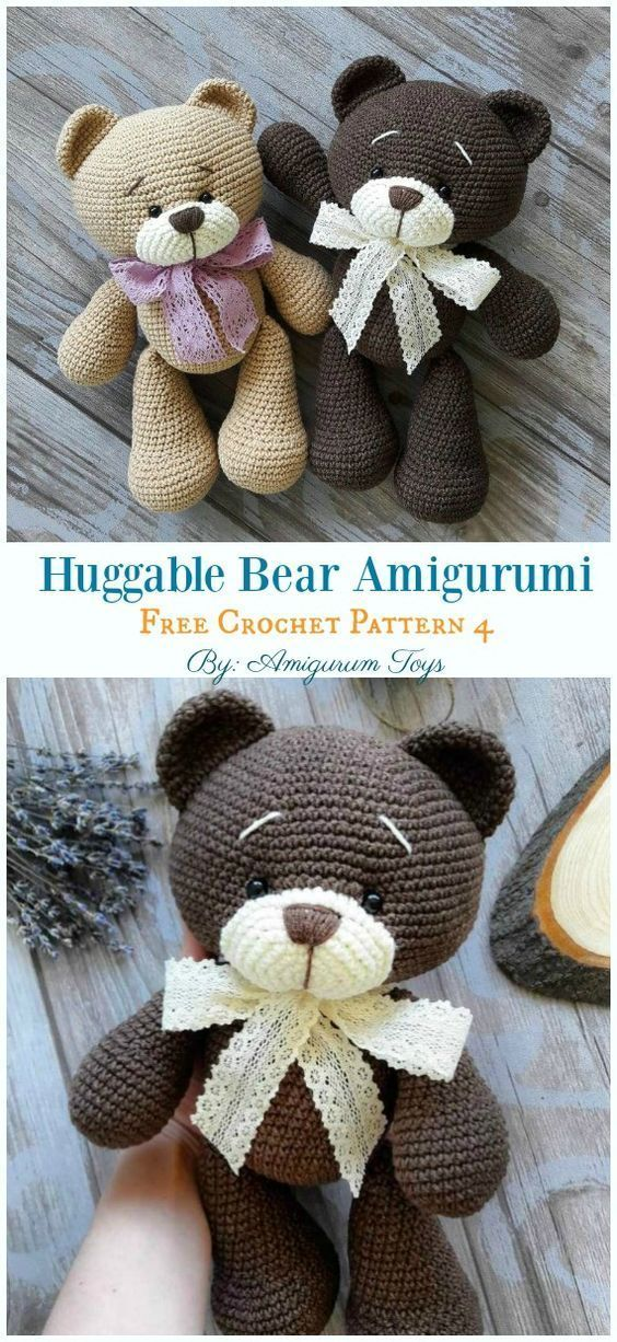 Free Amigurumi Bear Toy Softies Crochet Patterns | Crochet animal ... | 1226x564