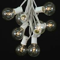 25 G50 Globe Light String Set with Clear Bulbs on White Wire $19.95 per 25' string