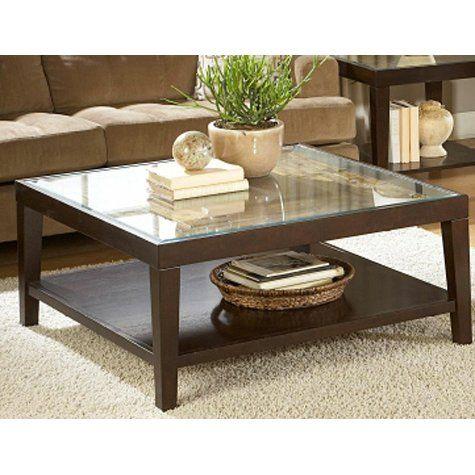 Merlot Square Glass Top Coffee Table Coffee Table Wood Coffee