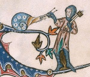 Gorleston Psalter BLL_Add49622_f185v_d In the lower marginalia of f. 185v a knight, his weapon relaxed on his shoulder, grabs the tentacles of the (dextral) snail sitting on the branch in front of him. One may expect a retraction…; perhaps the snail surrendered?: