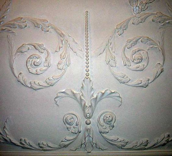 Scrollwork on Dining Room Ceiling at Mount Vernon: Dining Rooms, Ceiling Detail, Presidents George