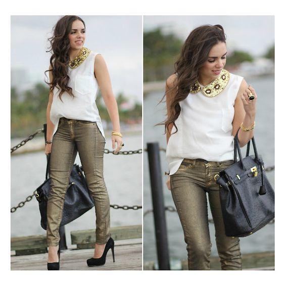 Un look de Oro, pantalones dorados by Zara Lista para salir ❤ liked on Polyvore