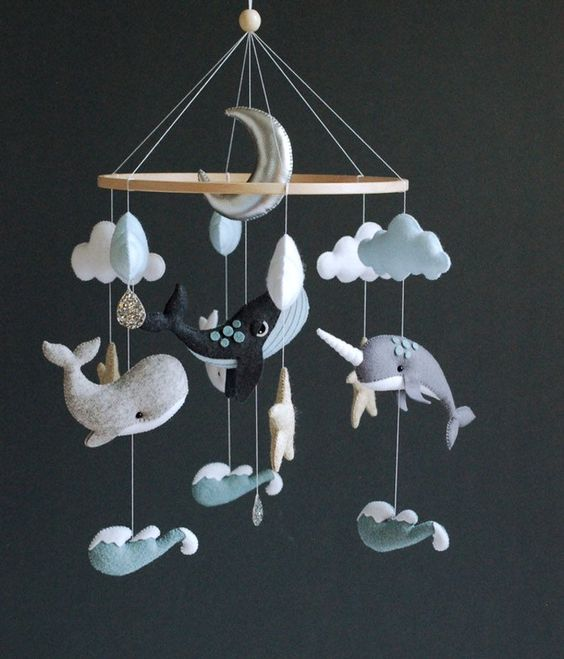 Whale Baby Mobile Nursery Felt Baby Mobile Boy Narwhal Dolphin Sea Ocean Waves Nursery Hanging Crib Mobile Newborn Baby Shower Gift In 2020 Baby Boy Mobile Whale Mobile Hanging Crib