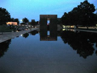 Oklahoma City Bombing Memorial in Oklahoma City, Oklahoma. I remember this day like it was yesterday. April 19, 1995, I was sitting in Mrs. Hannahs 3rd grade class when i heard the bomb go off.