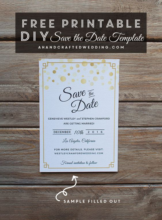 Free modern gold diy save the date template download this diy wedding save the date and then for Save the date printable