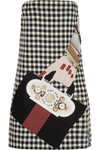 Shop now: Holly Fulton: Fashion Products, Houndstooth Wool, Mini Dresses, Appliquéd Houndstooth, Holly Fulton, Fulton Appliquéd