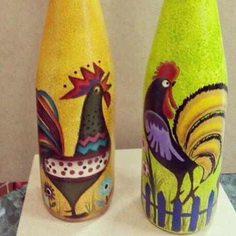 Botellas pintadas a mano: