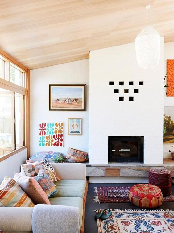 Santa fe style contemporary living room with pine ceiling. Transitional bohemian feel.