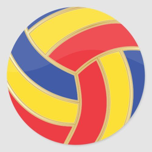 Colorful And Gold Volleyball Classic Round Sticker Zazzle Com In 2020 Volleyball Team Gifts Round Stickers Volleyball Birthday Party