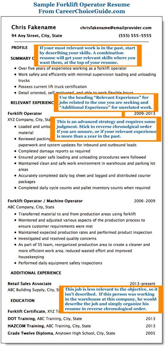 Sample forklift operator resume Resume ideas Pinterest