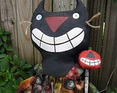 Halloween Primitive Black Cat and Pumpkin - Pritty Kitty