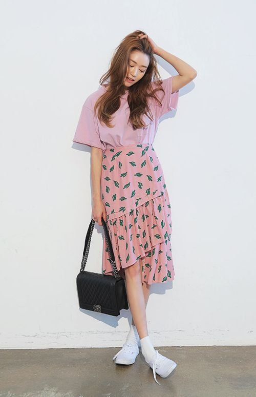 Cactus Print Tiered Skirt:
