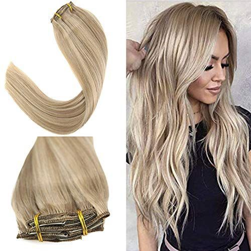 Youngsee 22 Inch Clip In Double Weft Human Hair Extensions Blonde