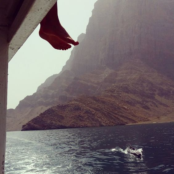 Ridding with the dolphins in Musandam, beautiful and preserved region of Oman #teamV