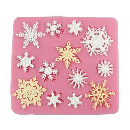Xmas floco de neve de natal molde de Silicone Fondant Mould bolo ferramentas molde de Chocolate molde de argila cozimento cozinha