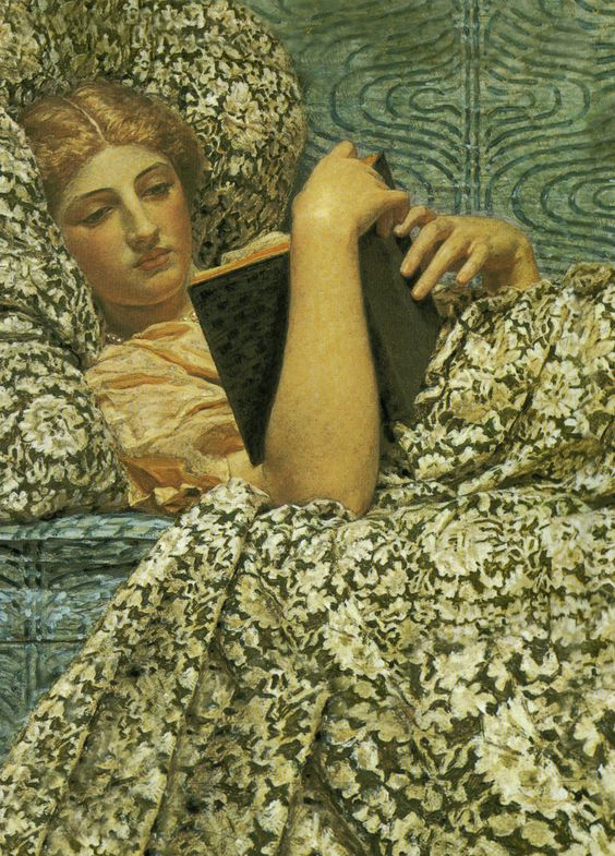 Women Reading - snowce: Albert Joseph Moore, Red Berries... The detail in the fabric would drive me insane: