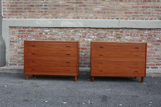 Sleek Danish Mid Century Modern Teak Dressers (Denmark, 1950's) by Kinzco, via Flickr