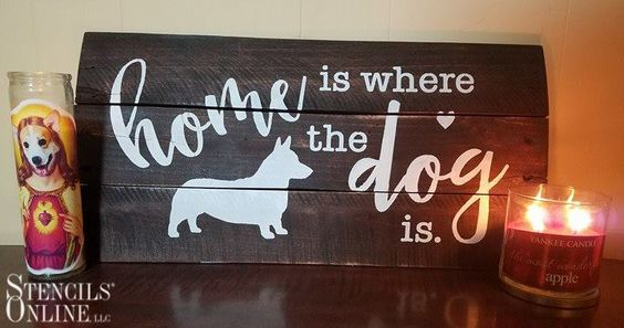Custom corgi pallet art sign!  Stencils Online cut this amazing custom corgi stencil that is adorable for decorating your home. We can do this design with other dog silhouettes too!