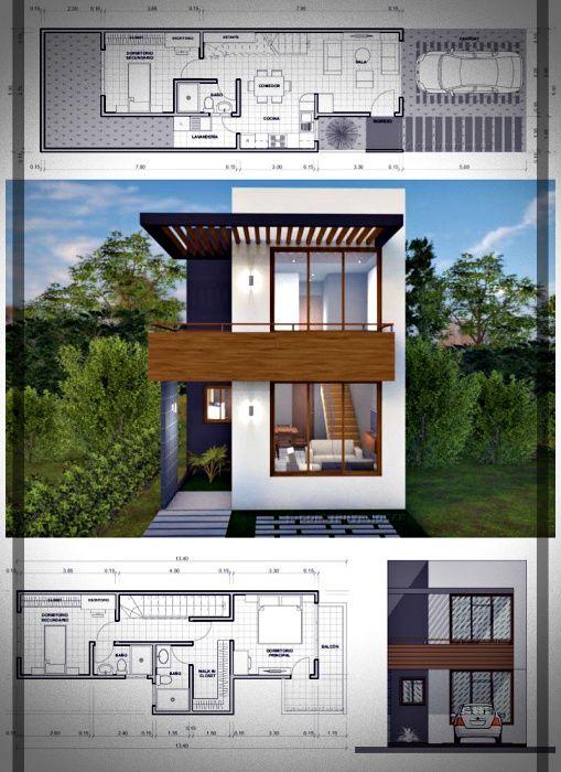 Hoy En Mundo Fachadas Les Compartimos 10 Disenos De Casas De Pisos Con Sus Respectivos Planos Pe Two Story House Design Narrow House Plans Architecture House