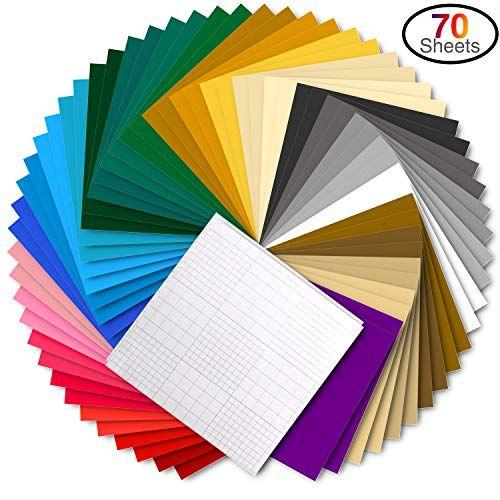 Vinyl Sheets Ohuhu 70 Permanent Adhesive Backed Vinyl Sheets Set 60 Vinyl Sheets 12 X 12 10 Transfer Tape Sheets 30 Vinyl Sheets Craft Cutter Coloring Sheets