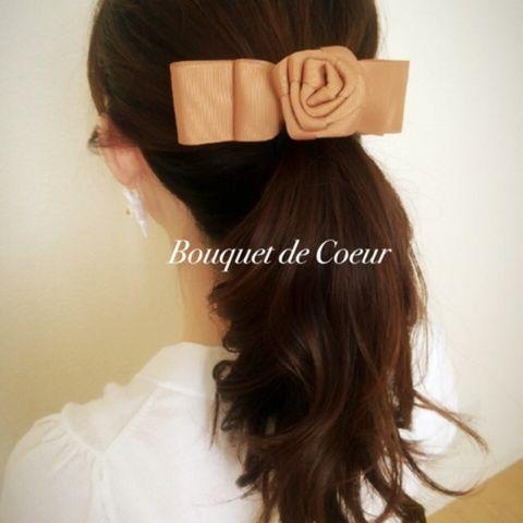 ハンドメイドリボン×フラワーへアゴム ¥500- Handmade ribbon & flower hair accessory