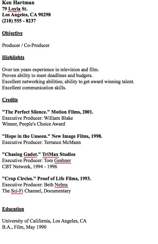 Example Of Producer Resume -    resumesdesign example-of - executive producer sample resume