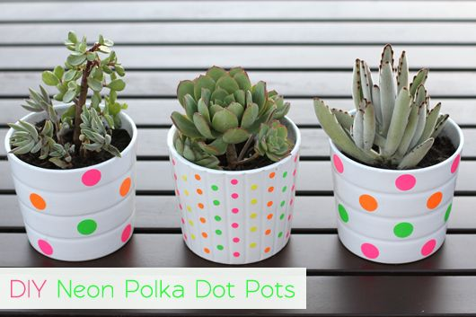 DIY Neon Polka Dot Pots - Would anyone like to have supplies on hand to make these?  Fun and easy project!