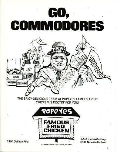"""Popeyes Famous Fried Chicken Vintage Magazine Ad- """"Go Commondores"""