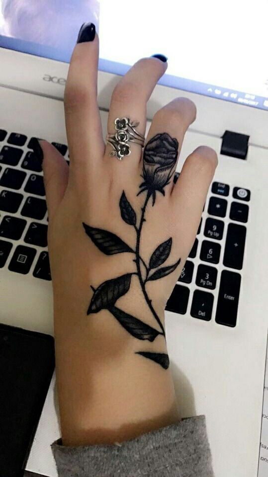 Most Beautiful Black Rose Tattoo Design With Black Ink Beautiful Black Most Beautiful Black Rose Tattoo D In 2020 Rose Hand Tattoo Hand Tattoos Tattoos